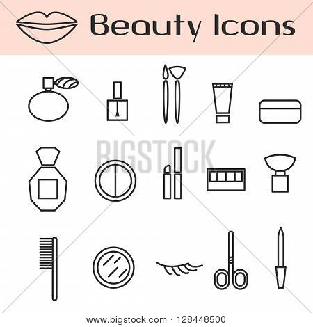 Beauty cosmetics line vector icon set. Make up accessories for woman beauty perfume, cream, lash, powder, shadows, lipstick and brushes.