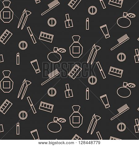 Cosmetic accessories girl seamless pattern. Line icons makeup vector package wrap background. Cosmetics for visagiste branding corporate style.