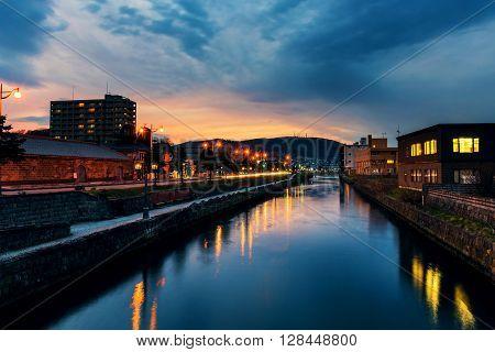 Historic Otaru Canals At Twilight, Hokkaido