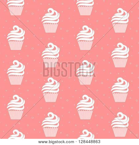 Pink cupcake seamless pattern. Sweet cake rose cartoon texture design. Patisserie package and website background tileable design.