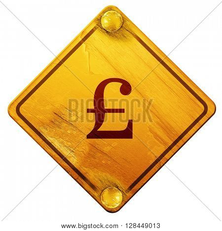 pound sign, 3D rendering, isolated grunge yellow road sign