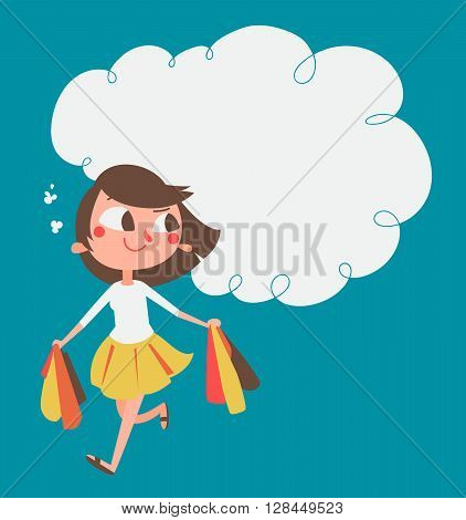 Cartoon Girl Shopping
