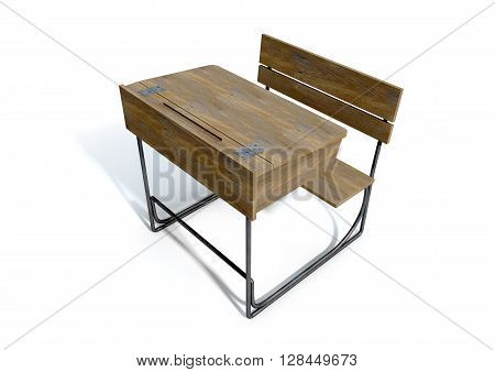 A 3D rendering of a vintage wooden school desk with a hinged lid and bench seat on an isolated white studio background