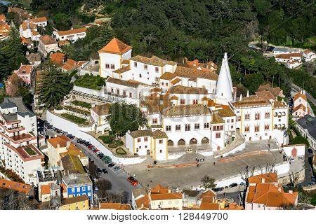 Palacio Nacional de Sintra in Portugal. Shot from Castelo dos Mouros.