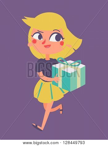Cartoon Girl Running With Present