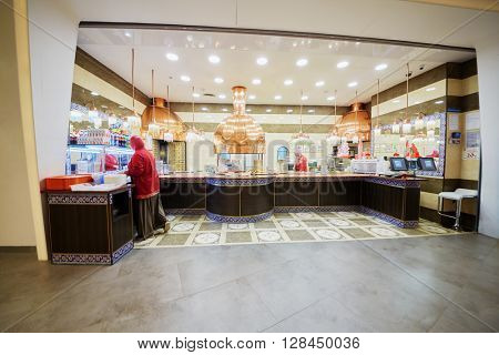 MOSCOW, RUSSIA - JUN 22, 2015: Cafe Livan (Lebanon) House inCentral Children Store on Lubyanka square. This store is largest children store in Russia, it was opened after reconstruction March 31 2015.