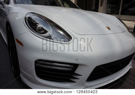 Montreal, Canada - June 05, 2015: Formula 1 cars exposition on Crescent street in Montreal a day before the real competition.All  sport cars brands are there-Porsche team.