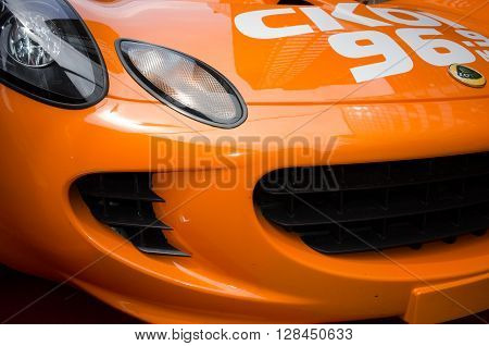 Montreal, Canada - June 05, 2015: Formula 1 cars exposition on Crescent street in Montreal a day before the real competition.All  sport cars brands are there-Lotus team.