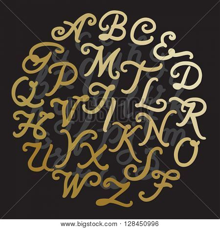Handwritten Gold alphabet vector font. Hand drawn brush script letters on black background. Stock vector lettering typography