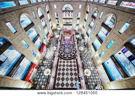 MOSCOW, RUSSIA - JUN 22, 2015: Main atrium of Central Children Store on Lubyanka square. This store is the largest children store in Russia, it was opened after reconstruction March 31 2015.