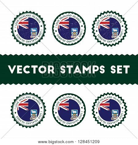 I Love Falkland Islands (malvinas) Vector Stamps Set. Retro Patriotic Country Flag Badges. National