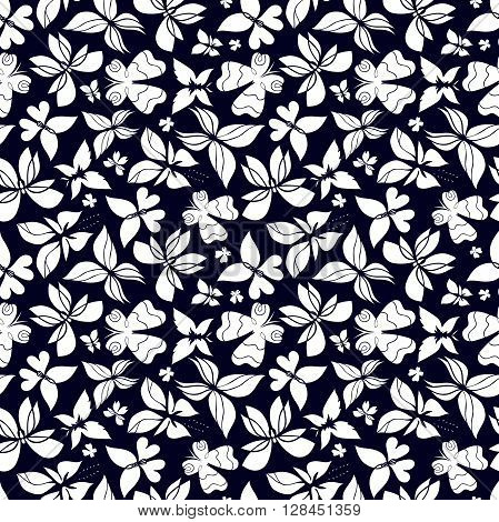 Butterfly seamless pattern butterfly black and white background butterflies vector butterfly silhouette can be used for design fabric wrapping paper walpaper EPS 8