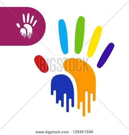 paint flow handprint. rainbow colors of a hand and fingers