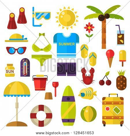 Summer symbols vector icons.