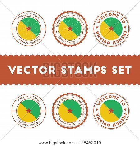 French Guiana Flag Rubber Stamps Set. National Flags Grunge Stamps. Country Round Badges Collection.