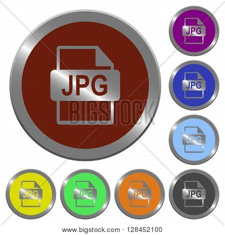 Set of color glossy coin-like JPG file format buttons.