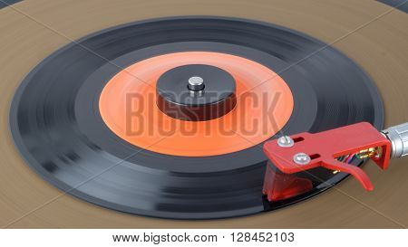 Vinyl record on a turntable record player 45rpm
