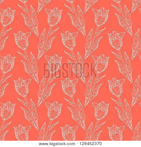 Seamless pattern with tulips branches. Pencil sketch collection vector illustration. Hand drawn floral print for summer spring fashion. Easter background with flowers, vines and leaves in coral pink