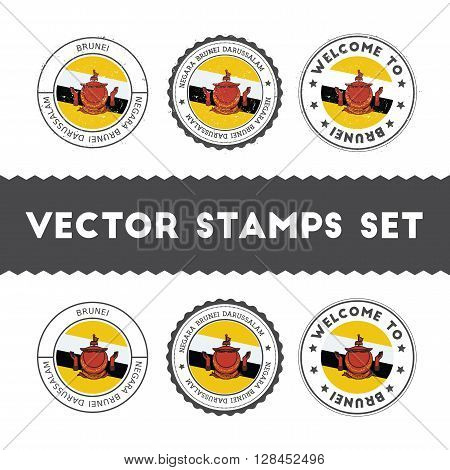 Bruneian Flag Rubber Stamps Set. National Flags Grunge Stamps. Country Round Badges Collection.