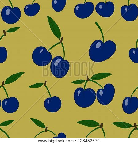Vector Seamless pattern, plum fruit randomly scattered, small