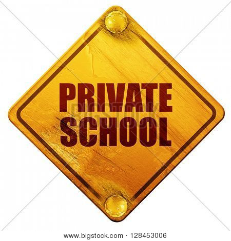 private school, 3D rendering, isolated grunge yellow road sign