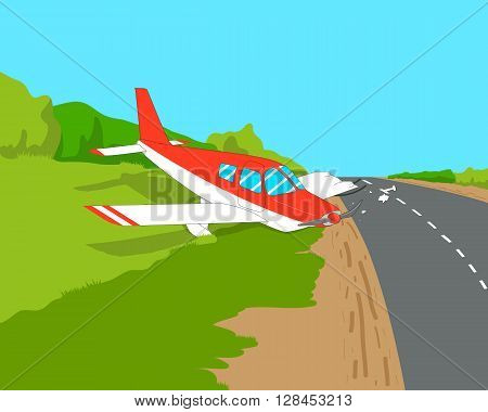 Light aircraft made an emergency landing on a highway. Vector illustration