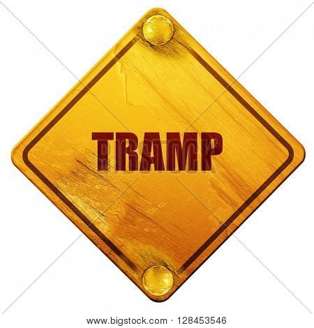 tramp sign background, 3D rendering, isolated grunge yellow road