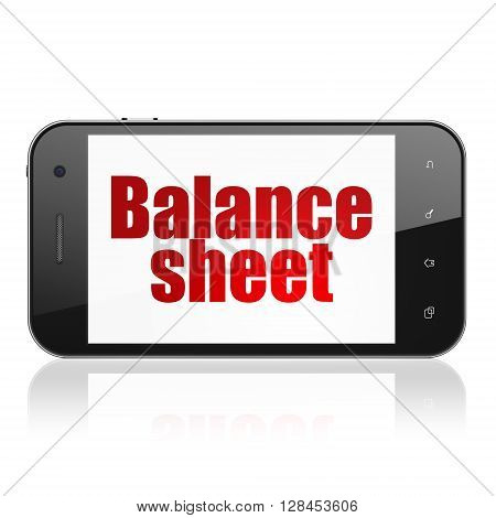 Banking concept: Smartphone with  red text Balance Sheet on display,  Tag Cloud background, 3D rendering