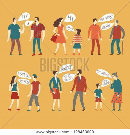 Set of cartoon speaking people in various lifestyles and ages having a dialog. Including businessman man woman teenagers children seniors couple. Characters illustrations with speech bubble.