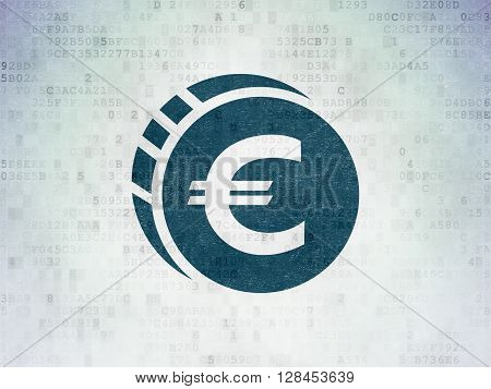 Banking concept: Painted blue Euro Coin icon on Digital Data Paper background