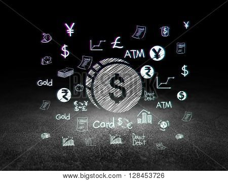 Money concept: Glowing Dollar Coin icon in grunge dark room with Dirty Floor, black background with  Hand Drawn Finance Icons