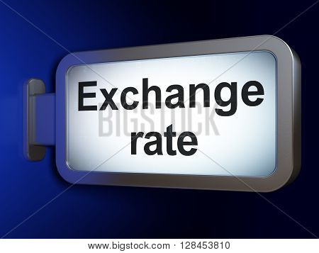 Currency concept: Exchange Rate on advertising billboard background, 3D rendering