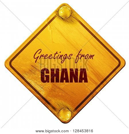 Greetings from ghana, 3D rendering, isolated grunge yellow road