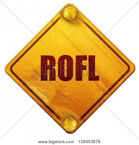 rofl internet slang, 3D rendering, isolated grunge yellow road s