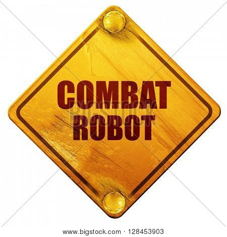 combat robot sign background, 3D rendering, isolated grunge yell