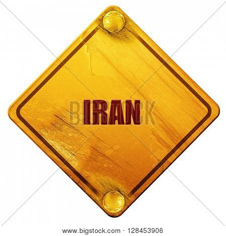 Greetings from iran, 3D rendering, isolated grunge yellow road s