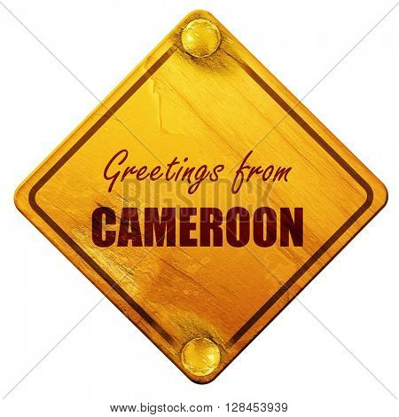 Greetings from cameroon, 3D rendering, isolated grunge yellow ro
