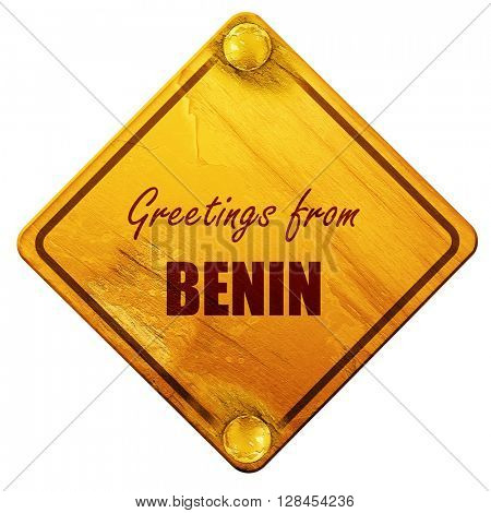 Greetings from benin, 3D rendering, isolated grunge yellow road