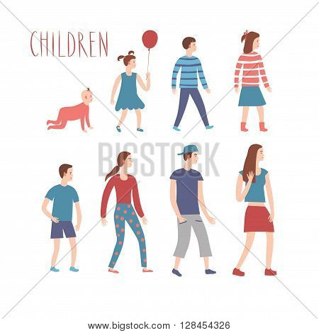 Set of cartoon children in various ages. Including baby kid teenager. Characters illustrations for your design.