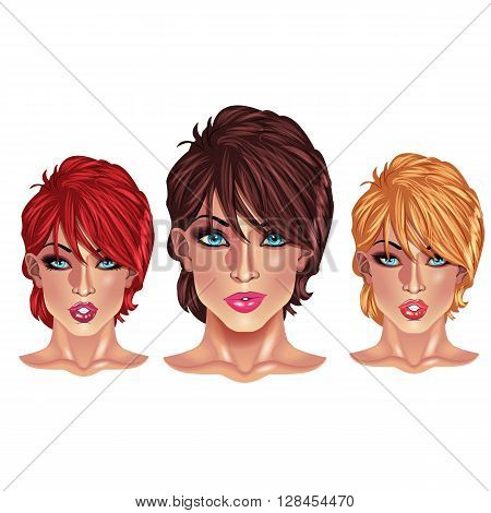 Beautiful girls with short haircuts - three beautiful bright women faces with short haircuts of different colors.