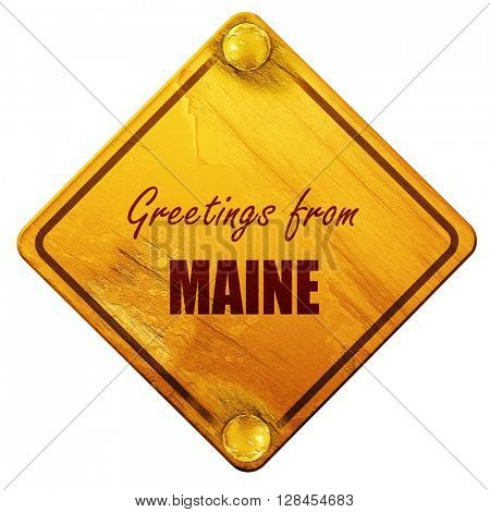 Greetings from maine, 3D rendering, isolated grunge yellow road