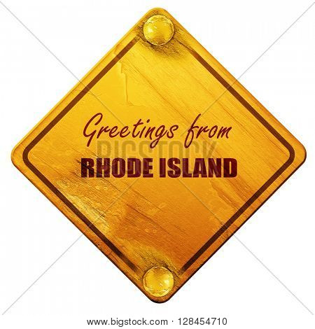 Greetings from rhode island, 3D rendering, isolated grunge yello