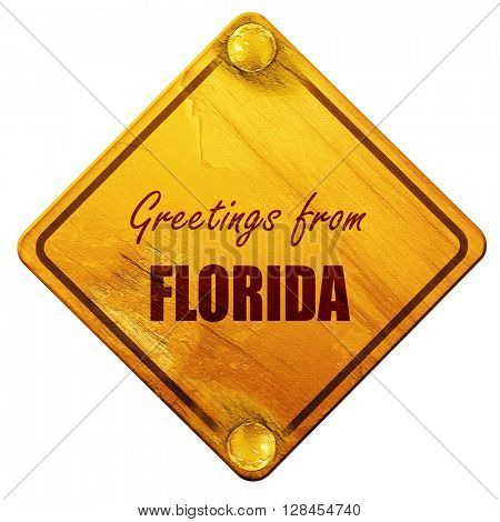Greetings from florida, 3D rendering, isolated grunge yellow roa