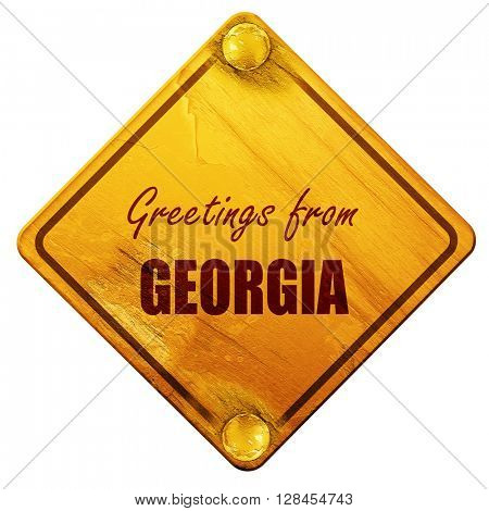 Greetings from georgia, 3D rendering, isolated grunge yellow roa