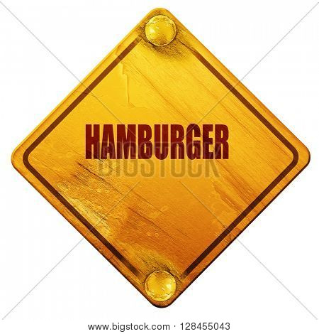 Delicious hamburger sign, 3D rendering, isolated grunge yellow r