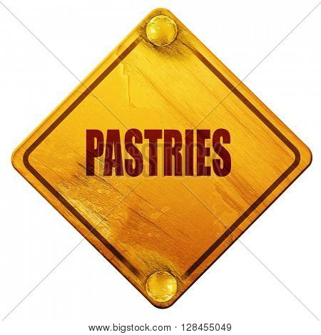 Delicious pastries sign, 3D rendering, isolated grunge yellow ro
