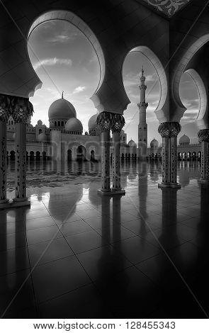 ABU DHABI, UAE - MAR 19, 2014: Amazing black and white view at Sheikh Zayed Grand Mosque, Abu Dhabi, United Arab Emirates