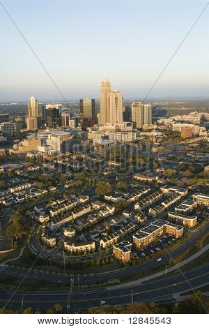 Aerial view of downtown buildings in Charlotte, North Carolina.