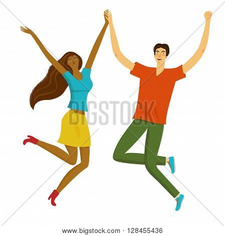 Happy boy and girl jumping together. Feelings of lightness happiness carefree joylove friendship. Cartoon illustration for your design.