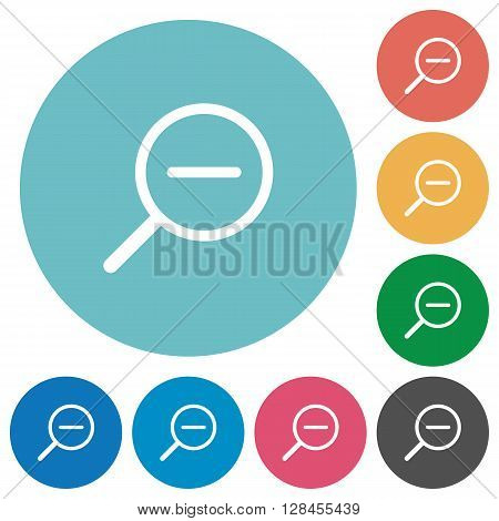 Flat zoom out icon set on round color background.